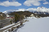 St. Moritz lakeside and town — Stock Photo