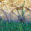 Stock Photo: Chariot wheels and nettles