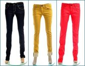 Pair of colored jeans, isolated — Stock Photo