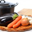 Vegataricoocking with home grown vegetables — Stock Photo #34001241