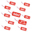 Red labels - Stock Vector