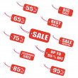 Red sale labels — Stock Vector