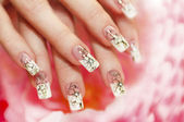 Floral French manicure. — Stock Photo