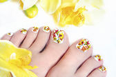 Flower pedicure. — Stock Photo