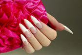 Long French nails. — Stock Photo