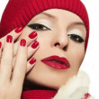 Stock Photo: Red lips and fingernails.