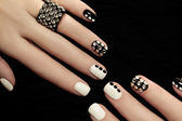 Manicure on short nails. — Stock Photo