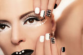 Makeup and manicure with crystals. — Stock Photo