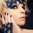 Stock Photo: Luxurious blue manicure and makeup.