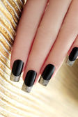Black French manicure. — Stock Photo