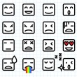 Square Face Emoticons — Stock Vector