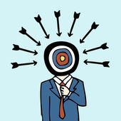 Businessman target dartboard head — Stock Vector