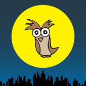 Mr. Owl in the Cityscape — Stock Vector