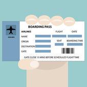 Boarding pass in hand — Stock Vector