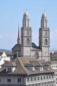 Grossmunster Church in Zurich — Stock Photo