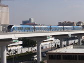 Train approaching Oud Metha Metro Station in Dubai, UAE — Stock Photo