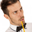 Man with pencil — Stock Photo