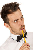 Man with pencil — Foto de Stock