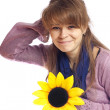 Stock Photo: Young woman with flower