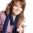 giovane ragazza con orsacchiotto — Foto Stock