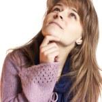 na białym tle młoda kobieta dorywczo myślenia — Zdjęcie stockowe #17818971