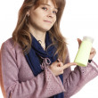 Woman holding in hand blank bottle shampoo — Stock Photo #17818977