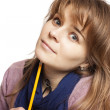 Girl holding a pencil — Stock Photo #17821959