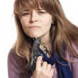 Girl with gun — Stock Photo #17821973