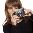 Woman with vintage camera — Stockfoto