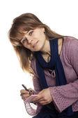 Woman writing — Stock Photo
