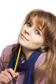 девочка держит карандаш — Стоковое фото