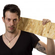 Man with wood board — Stock Photo #19385375