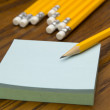 Post-it notes with pencil — Stok fotoğraf