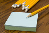 Post-it notes with pencil — Stock Photo