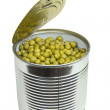 Can with green peas — Stockfoto