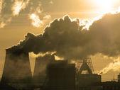 Danger! Air pollution! Sepia tone — Stock Photo