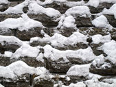 Old stone wall with snow — Stock Photo