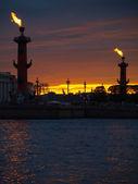 санкт-петербург-ростральные колонны — Стоковое фото