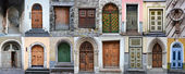 Set of colorful wooden doors of Tallinn — Stock Photo