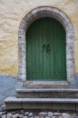 Vintage wooden door of the Tallinn city — Stock Photo