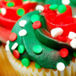 Red and Green Cupcake CloseUp — Stock Photo