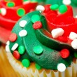 Stock Photo: Red and Green Cupcake CloseUp