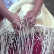 Weaving a Panama hat, Ecuador — Stok video