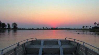 Atardecer del delta de okavango — Vídeo de Stock