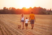 Happy family with dog walking — Stock Photo
