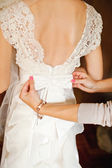 Wedding dress back detail — Stock Photo