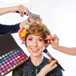 Makeup woman with many hands — Stock Photo