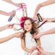 Stock Photo: Little girl in beauty salon
