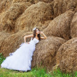Stock Photo: Beautiful bride in hay stack at her wedding day