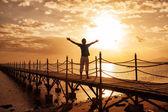 Silhouette of man watching sunset — Stock Photo